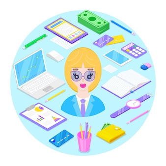 Blondy businesswoman and office stationary on blue background.vector illustration.