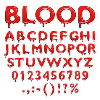 Blood alphabet numbers and symbols