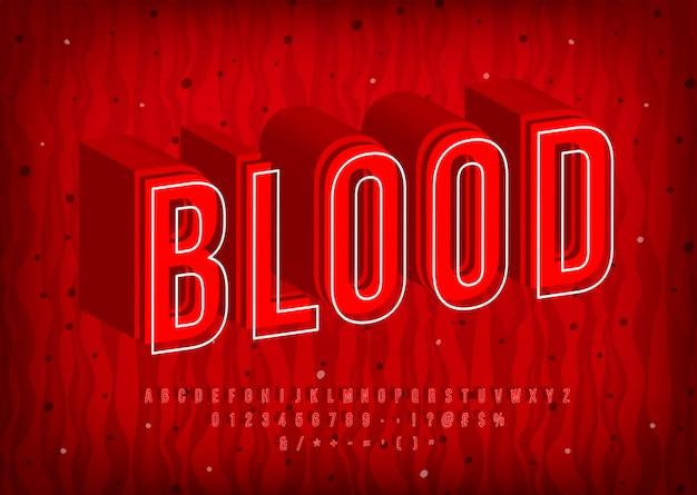 혈액 알파벳, 열 뜨거운 편지, 유행 빨간 글꼴. 숫자와 기호