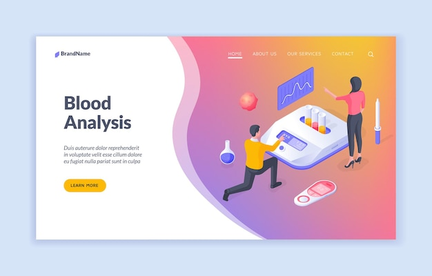 Blood analysis web page template with isometric illustration