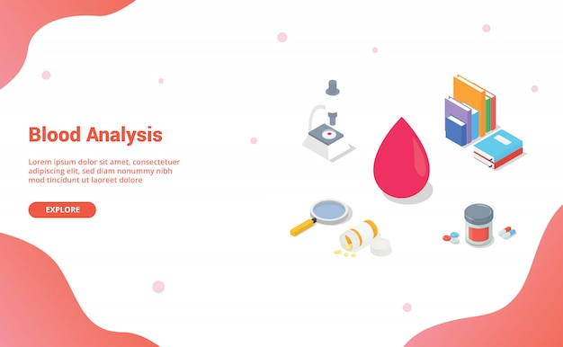 Blood analysis with team doctor and nurse with modern isometric style for website template or landing homepage
