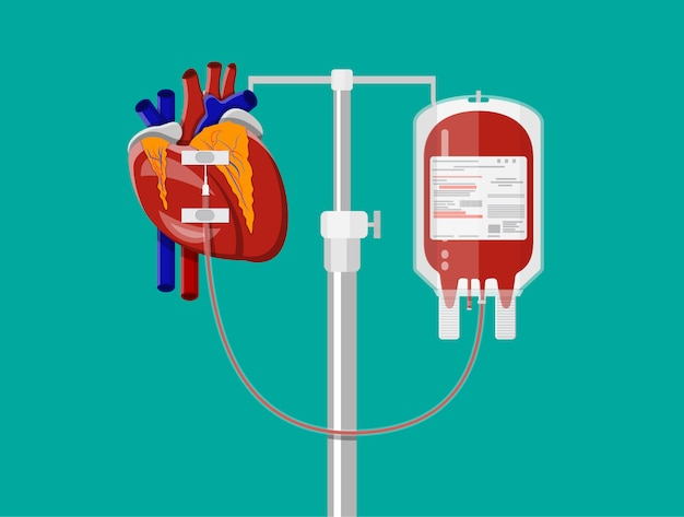 Blood bag and heart at holder