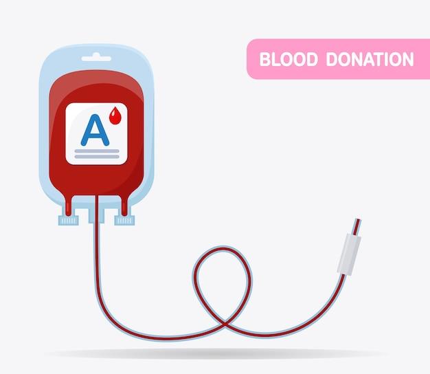 白い背景で隔離の血袋。医学研究所の概念における寄付、輸血。