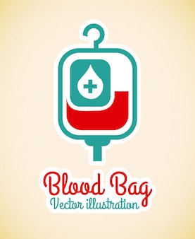 Blood bag  over pink background vector illustration