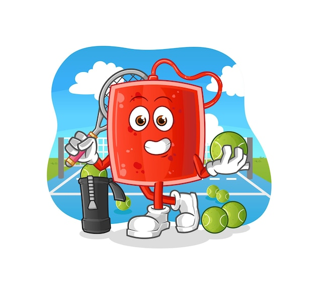 The blood bag plays tennis illustration. character