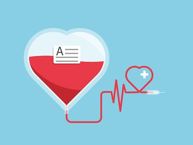 Blood bag with heart shape