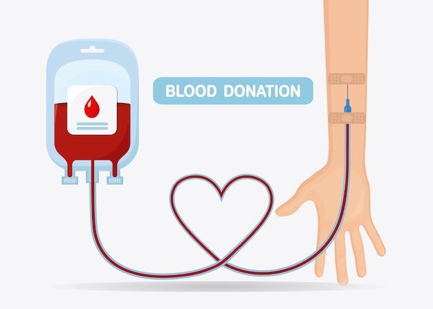 聖霊降臨祭の背景に分離された赤いドロップとボランティアの手で血袋。医学研究所のコンセプトにおける寄付、輸血。心臓と血漿のパック。患者の命を救う。フラットなデザイン