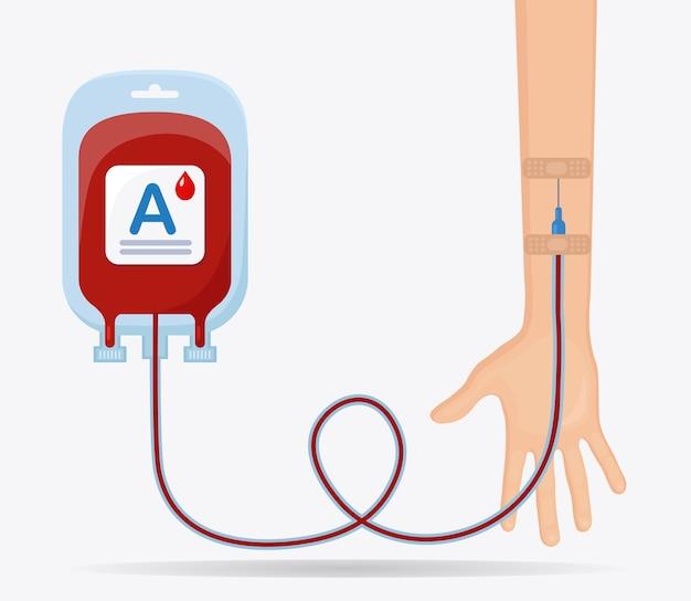 白い背景に赤いドロップとボランティアの手で血液バッグ。寄付、医学研究所のコンセプトで輸血。患者の命を救う。
