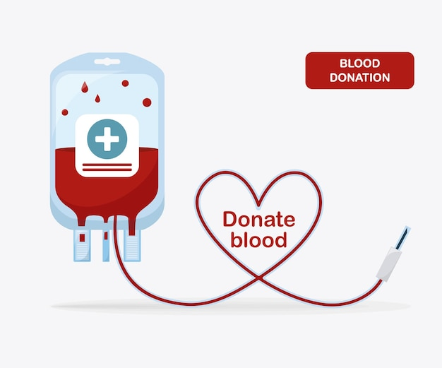 Blood bag with red drop. donation, transfusion in medicine laboratory concept. pack of plasma with heart.