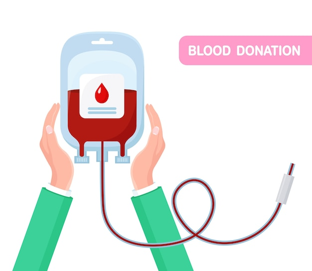 手に赤いドロップが付いた血液バッグ。研究室での寄付、輸血。患者の命を救う