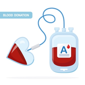 白地に赤いドロップで血液バッグ。寄付、医学研究所のコンセプトで輸血。心とプラズマのパック。患者の命を救う。