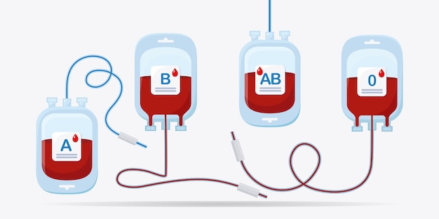 흰색 바탕에 빨간색 드롭 혈액 가방입니다. 기부, 의학 실험실 개념 수혈. 환자의 생명을 구하십시오.