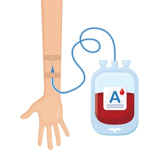 Blood bag with red drop and volunteer hand