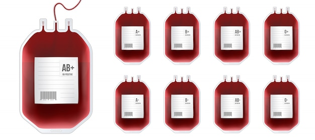 Blood bag with type, plastic container for plasma.