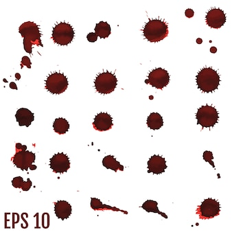 Blood blot, red drops, splatter painted art