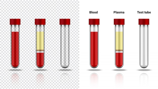 Blood bottle and plasma  realistic transparent test tube plastic or glass for science and learning on white  illustration health care and medical