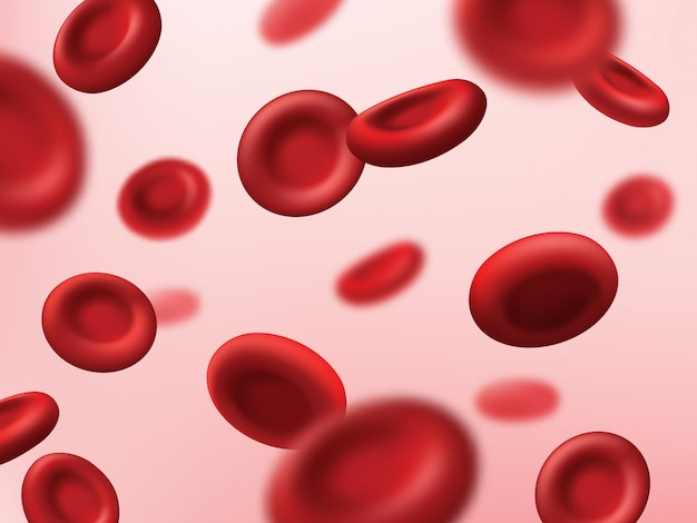 Blood cells red background, medical plasma and human artery hemoglobin erythrocytes,  hematology medicine. red blood cells in vein stream, body vascular system, cancer and microbiology science