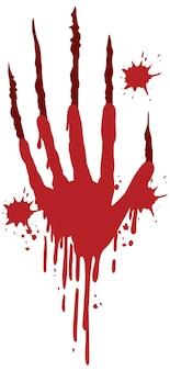 Ferite da graffio da artiglio di sangue su sfondo bianco