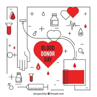 Фон донорства крови в линейном стиле