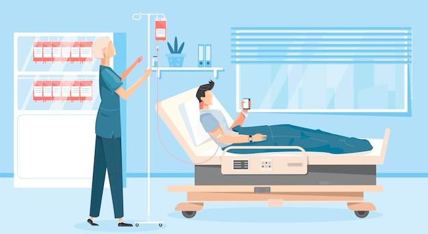 Sfondo di donazione di sangue con simboli donatori e medici piatti