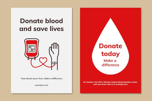 最小限のスタイルのデュアルセットで献血キャンペーンテンプレートベクトル広告ポスター
