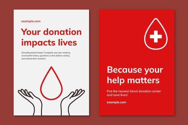 Blood donation campaign template vector ad poster in minimal style dual set