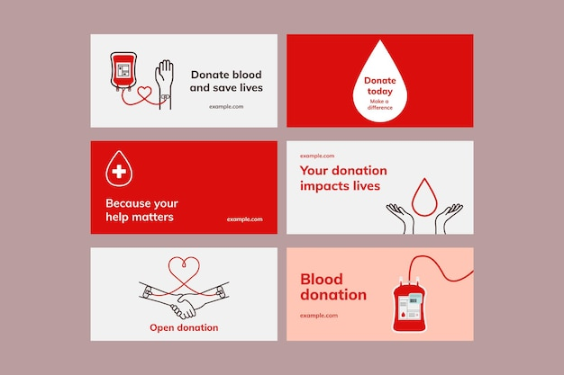最小限のスタイルのセットで献血キャンペーンテンプレートベクトルブログバナー