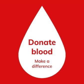 Modello di campagna per la donazione di sangue vettoriale annuncio sui social media in stile minimal