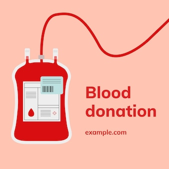 Blood donation campaign template vector social media ad in minimal style