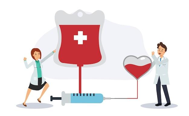 헌혈 concept.charity, 남성과 여성 의사는 심장과 혈액 가방 근처에서 헌혈을 응원합니다. 플랫 벡터 만화 캐릭터 그림입니다.