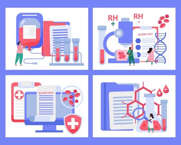 Набор иконок концепции донорства крови с плоской изолированной иллюстрацией символов переливания
