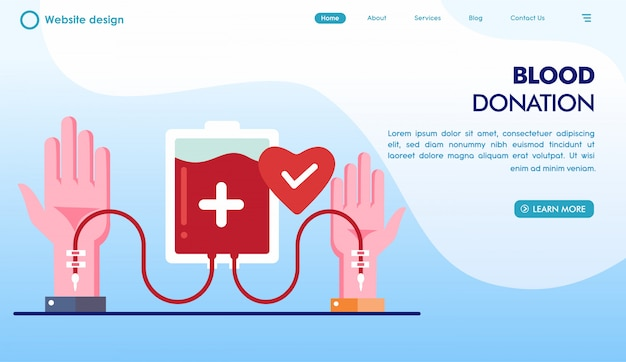 Blood donation day landing page in flat style