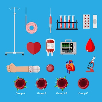 献血日セット。人間が献血する