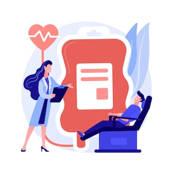 Blood donation. doctor and patient cartoon characters. volunteer donating blood for transfusion in hospital. healthcare, laboratory, donor. vector isolated concept metaphor illustration