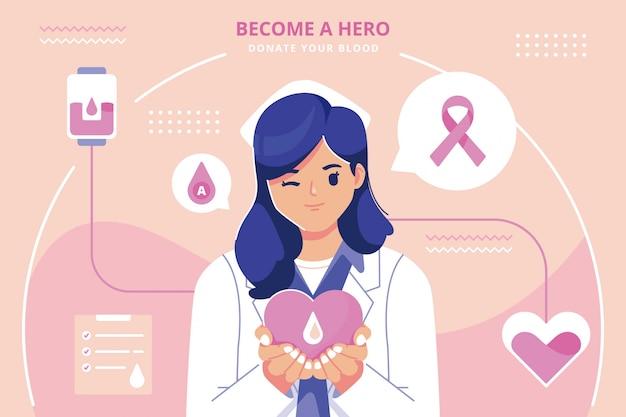 献血フラットデザインイラスト