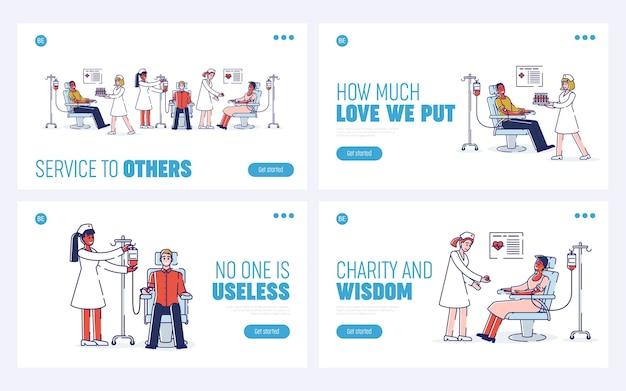Концепция донорства крови, здравоохранения и медицины. целевая страница веб-сайта.