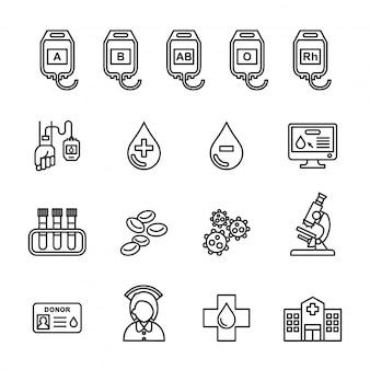 Blood donation icons set