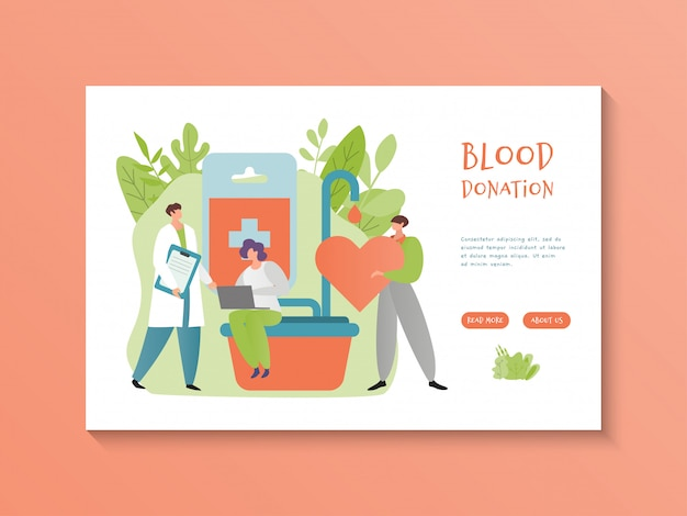 Blood donation inscription on page hospital site with medical information about transfusion, flat design illustration.