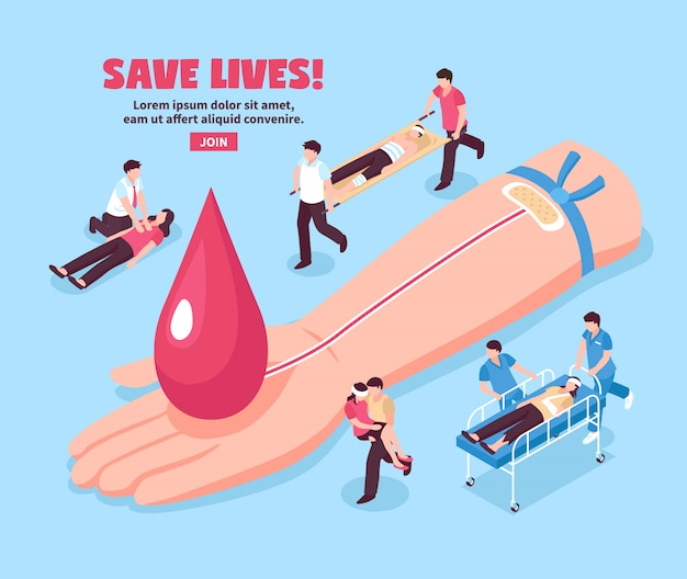 Blood donation isometric illustration donor hand with red drop and injured persons on blue