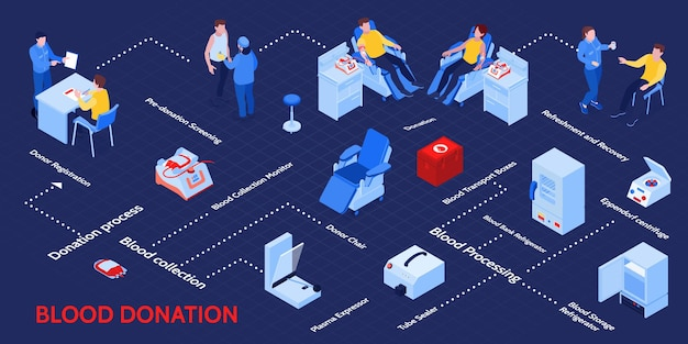 Blood donation isometric infographic