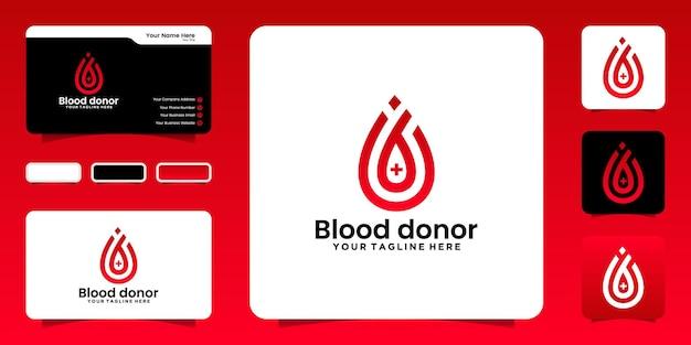B 모양의 혈액 방울이 있는 헌혈 로고 영감