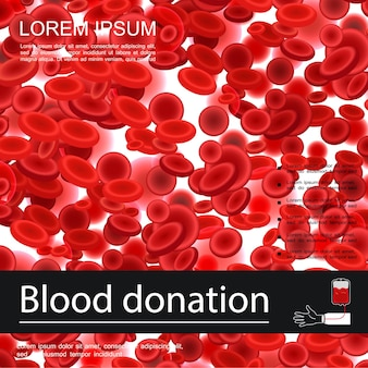 Blood donation medical template with red cells or erythrocytes in realistic style  illustration,