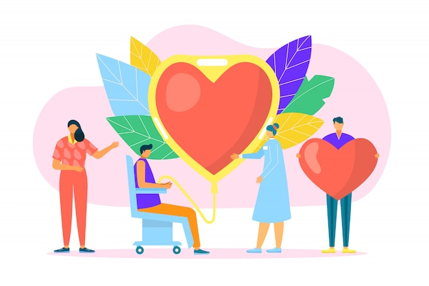 Blood donation, medicine help for hospital concept  illustration. donor aid clinic, charity transfusion to huge heart symbol. volunteer care about medical health, human life by donate .