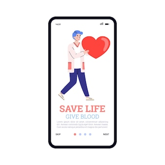 Blood donation transfusion concept a mobile app on phone screen