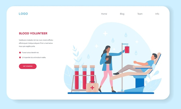 Blood donation web banner or landing page illustration