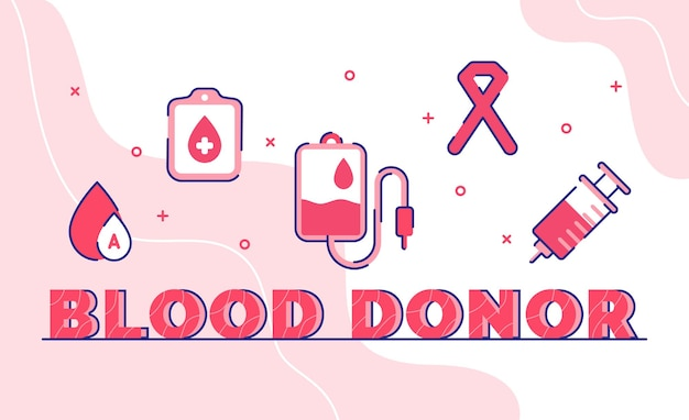 Blood donor. blood drop pack bag ribbon syringe with outline