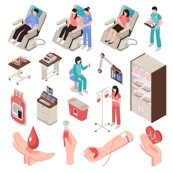 Blood donor in chair professional staff and medical equipment set of isometric icons isolated illustration