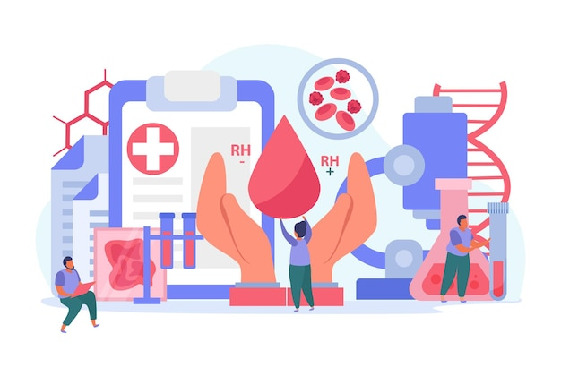 Composizione del donatore di sangue con mano e goccioline di sangue piatte