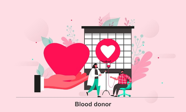 Blood donor web concept design in flat style with tiny people characters
