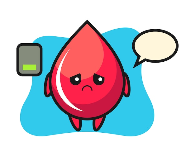 피곤한 제스처, 귀여운 스타일, 스티커, 로고 요소를하는 혈액 드롭 마스코트 캐릭터